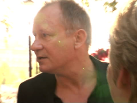 Arrivals at 'Mamma Mia' film premiere Stellan Skarsgård interviewed by press SOT Talks about seeing Julie Walters again/ favourite Abba song