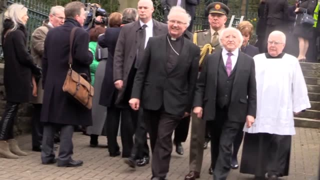 arrivals at martin mcguinness' funeral including irish presidnet michael d higgins president bill clinton former irish taoiseach bertie ahern gerry... - bertie ahern stock videos and b-roll footage