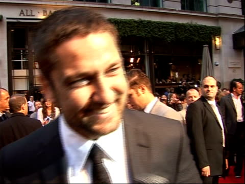 Arrivals for 'RocknRolla' film premiere Gerard Butler interview SOT On shooting in London Talks about working with Thandie Newton On working with Guy...