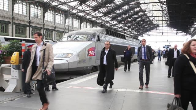 A TGV arrives at Gare de Lyon, Paris, Ile de France, France, Europe