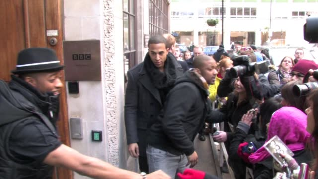 jls arriving and leaving radio one clipstone street london after appearing on the fearne cotton show as part of her week of interviewing brits... - fearne cotton stock videos & royalty-free footage