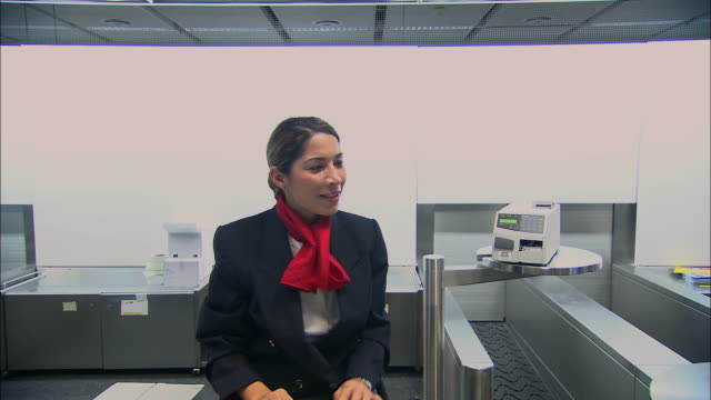 pov ms arriving at airport check-in counter, giving passport to attendant/ attendant talking, typing, and giving back passport and boarding pass/ munich, germany - airline check in attendant stock videos and b-roll footage