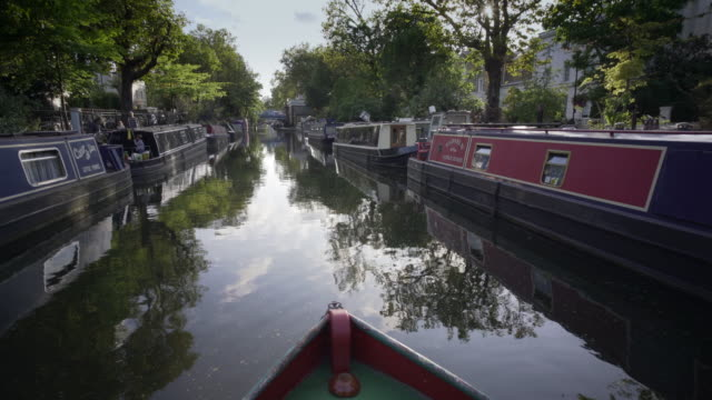 arriving in little venice london - barge stock videos & royalty-free footage