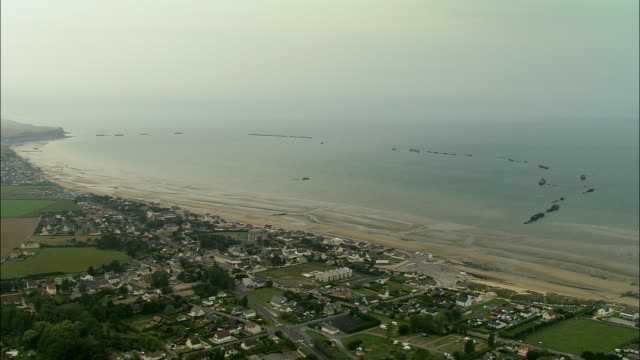 AERIAL, Arromanches and Mulberry harbour, Normandy, France