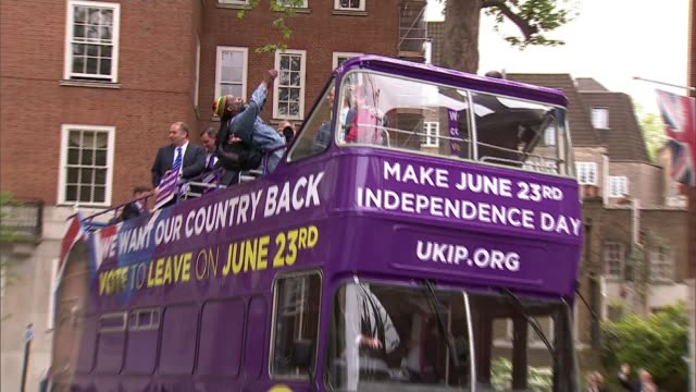 arron banks questioned by mps over russia links; lib / westminster: ext nigel farage mep on battle bus - nigel farage stock videos & royalty-free footage