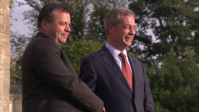 arron banks shaking hands with nigel farage - referendum stock videos & royalty-free footage