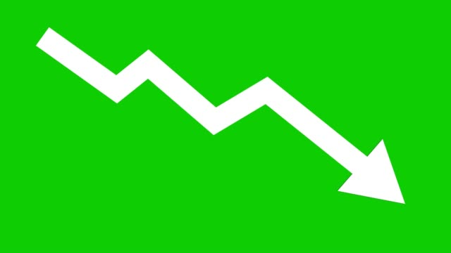 arrow downward animated icon. economic simple moving arow stock video - arrow symbol stock videos & royalty-free footage
