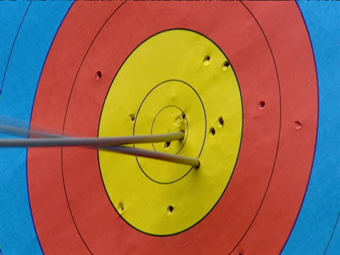arrow hits archery target - bow and arrow stock videos and b-roll footage