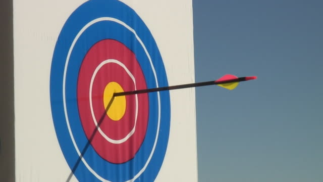 cu, arrow hitting target - sports target stock videos and b-roll footage