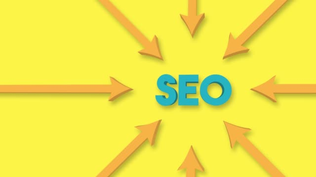 arrows point to the seo word on the yellow background. 4k video animation. - group of objects stock videos & royalty-free footage