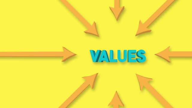 arrows point to the values word on the yellow background. 4k video animation. - morality stock videos & royalty-free footage