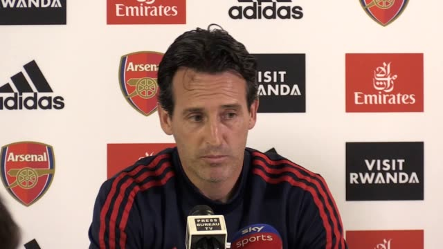 arsenal boss unai emery looks ahead to saturday's clash with liverpool at anfield. the spaniard admits that facing the european champions will be a... - var点の映像素材/bロール