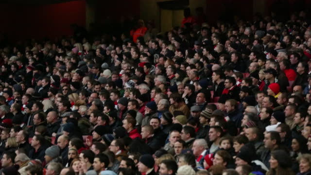 arsenal fans reacting to the action on the pitch at emirates stadium - fan enthusiast stock videos & royalty-free footage