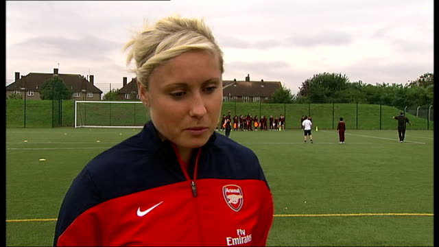Arsenal Ladies prepare for Continental Cup Final ENGLAND London Edgeware Steph Houghton interview SOT
