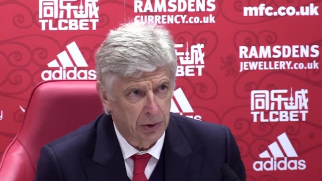 arsenal manager arsene wenger speaks after his side's 12 victory over middlesbrough in the premier league - middlesbrough stock videos and b-roll footage