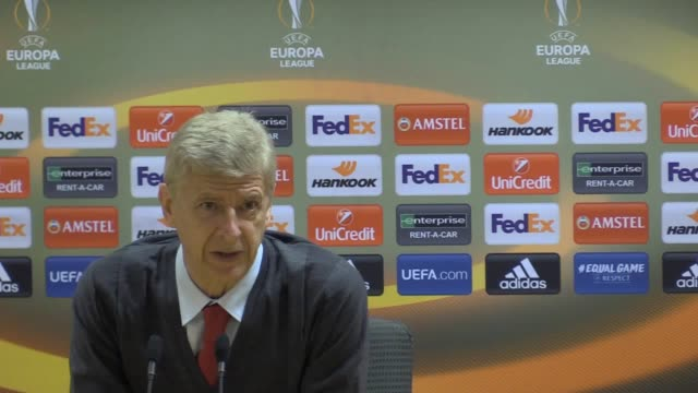 arsenal manager arsene wenger's postmatch press conference following the gunners' 00 draw with red star belgrade that saw them progress to the uefa... - playoffs stock videos and b-roll footage
