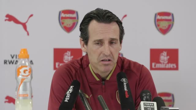 Arsenal manager Unai Emery gives a press conference ahead of his side's Premier League match against Tottenham at Wembley