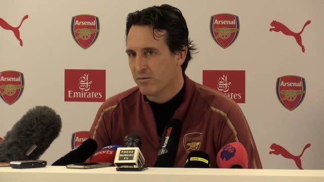 Arsenal manager Unai Emery gives a press conference ahead of the team's Premier League game against Liverpool