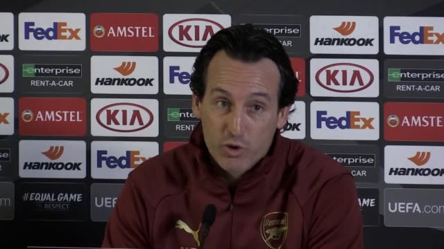 arsenal manager unai emery says the team are on their way, ahead of the team's europa league quarter final at home against napoli on april 11. - quarterfinal round stock videos & royalty-free footage