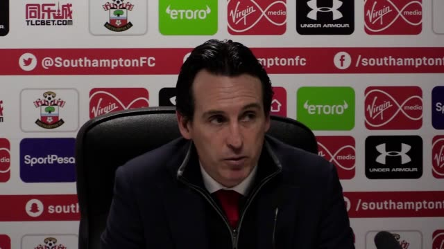 Arsenal Manager Unai Emery talks to the press after his club loses 32 to Southampton in the Premier League