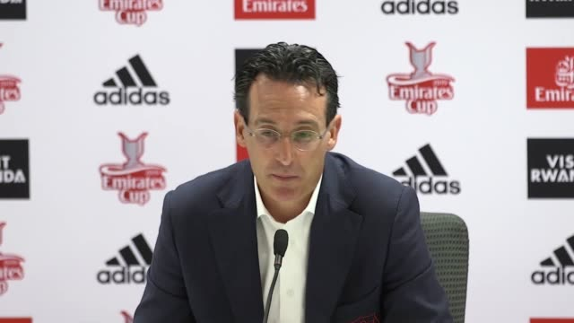 arsenal manager uni emery questioned his side's consistency saying it 'may not have been completely there' after his side's 21 loss to olympic lyon... - olympique lyonnais stock videos and b-roll footage