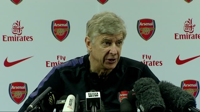 Hertfordshire London Colney INT Arsene Wenger press conference SOT on the players and upcoming match with Manchester United