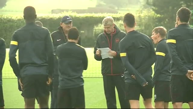 Hertfordshire London Colney EXT Arsenal players along onto pitch / general views of Arsenal players training including Kieran Gibbs Alex...