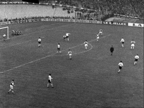 paris parc des princes stadium ext arsenal attacking / bv goalkeeper / ts arsenal attack ball towards other end dashes into centre makes no score /... - 1957 stock videos & royalty-free footage