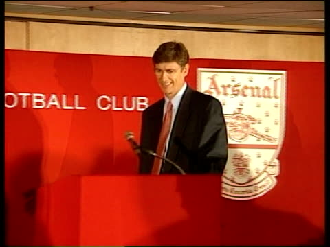 Arsene Wenger revealed as new Arsenal manager b1300 London Islington Highbury Arsene Wenger press conference SOT