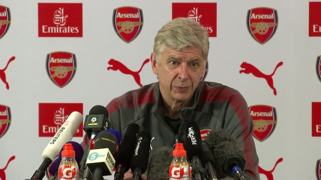 arsene wenger speaks to journalists ahead of final match hertforshire london colney arsenal training centre int arsene wenger press conference sot... - アーセン・ベンゲル点の映像素材/bロール