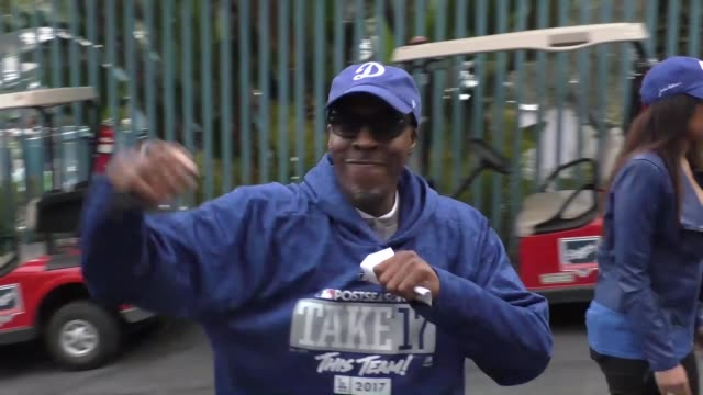arsenio hall arriving to game 6 of the world series at dodger stadium in los angeles in celebrity sightings in los angeles - arsenio hall stock videos & royalty-free footage