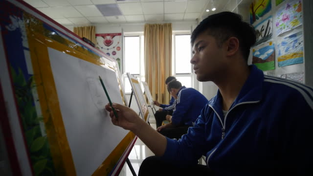 art class at secure reeducation facility for muslim ethinc groups in xinjiang promoted by china as a school to combat islamist extremism - art class stock videos & royalty-free footage