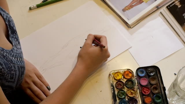 art class. fashion students drawing women's fashions. eastern europe: lifestyle - art class stock videos and b-roll footage