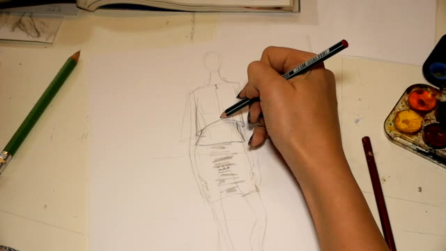 art class. fashion students drawing women's fashions - fashion designer stock videos and b-roll footage