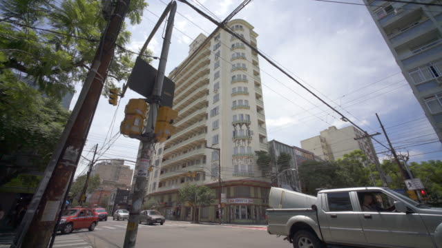 art deco apartment block architecture, porto alegre, southern brazil. - porto alegre stock-videos und b-roll-filmmaterial