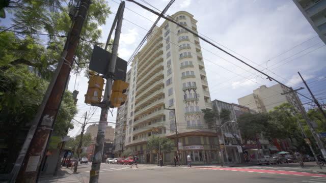 art deco apartment block architecture, porto alegre, southern brazil. - stato di rio grande do sul video stock e b–roll