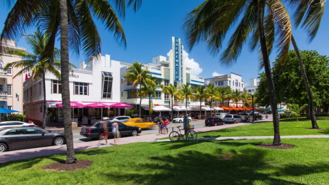 art deco district, ocean drive, south beach, miami beach, miami, florida, usa - time lapse - south beach stock videos & royalty-free footage