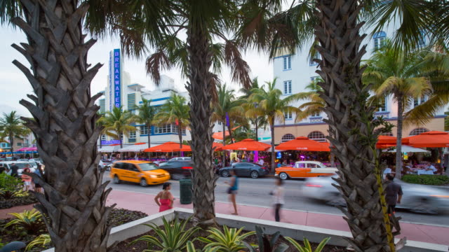 Art deco district, Ocean Drive, South Beach, Miami Beach, Miami, Florida, USA - Time lapse