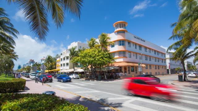 Art deco district, Ocean Drive, South Beach, Miami Beach, Miami, Florida, USA - Time lapse