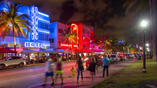 art deco district, ocean drive, south beach, miami beach, miami, florida, usa - time lapse - florida us state stock videos and b-roll footage