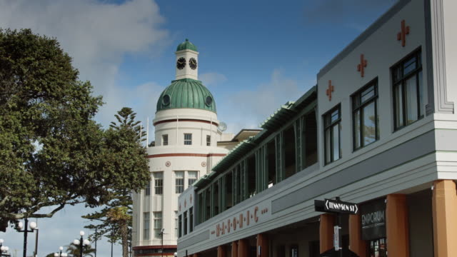art deco facade and t&g building dome, napier - dome stock videos & royalty-free footage