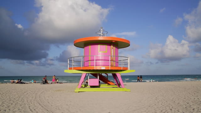 art deco style lifeguard hut on south beach, ocean drive, miami beach, miami, florida, usa - time lapse - shack stock videos & royalty-free footage
