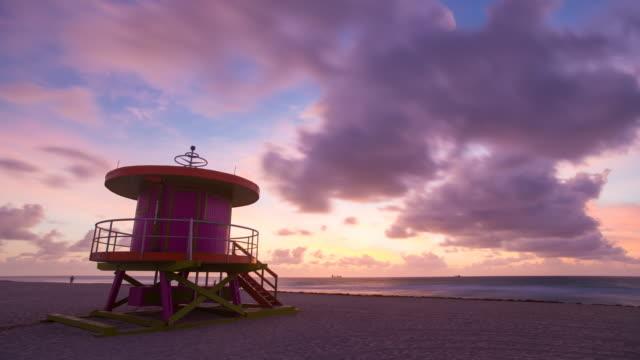 Art Deco style Lifeguard hut on South Beach, Ocean Drive, Miami Beach, Miami, Florida, USA - Time lapse