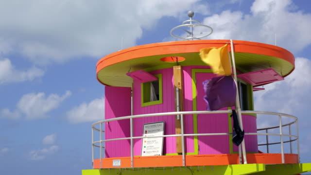 Art Deco style Lifeguard hut on South Beach, Ocean Drive, Miami Beach, Miami, Florida, USA