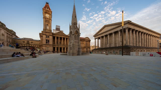 art gallery, two chamberlain square and town hall in birmingham city centre - 4k time-lapse (tilt-up) - west midlands stock videos & royalty-free footage