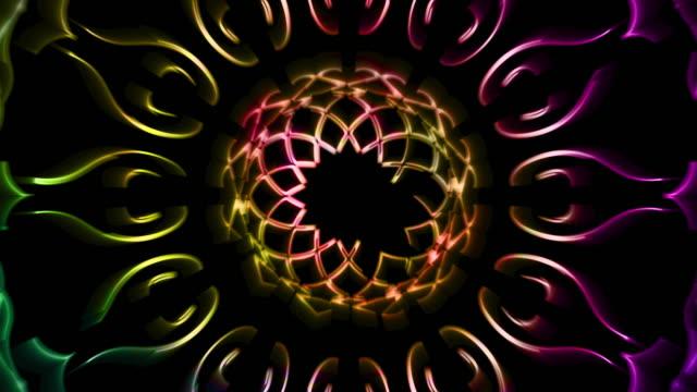 rgb-kunst-linie mit bunten hintergrund tulpe dekorative - langsam stock-videos und b-roll-filmmaterial