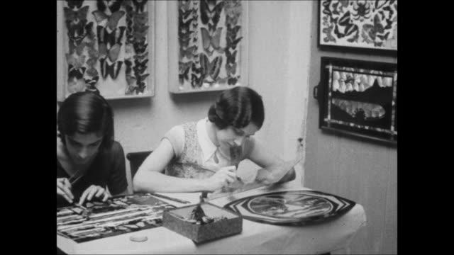 vídeos de stock, filmes e b-roll de art made from butterfly wings, rio de janeiro, brazil - 1930