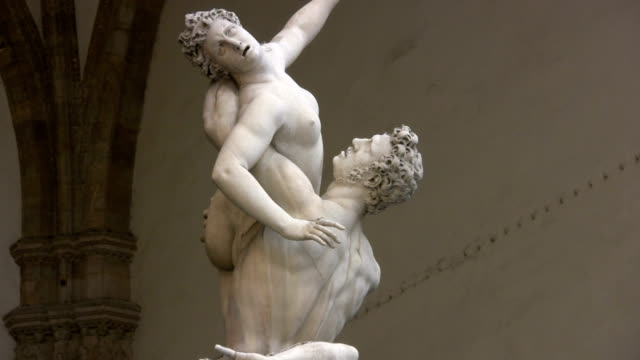 art museum, florence - italy, rape of the sabine women - florence italy stock videos and b-roll footage