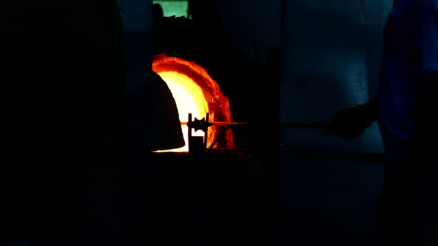 art of glass blowing - kiln stock videos and b-roll footage