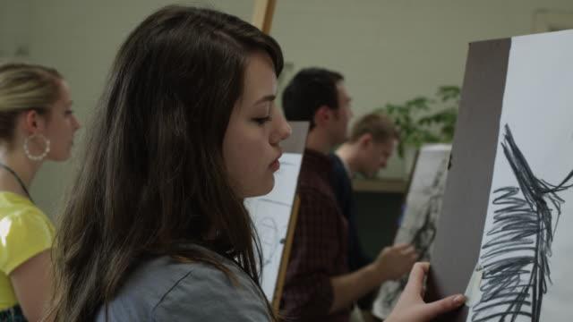 CU PAN Art students drawing in class / Buena Vista, Virginia, USA